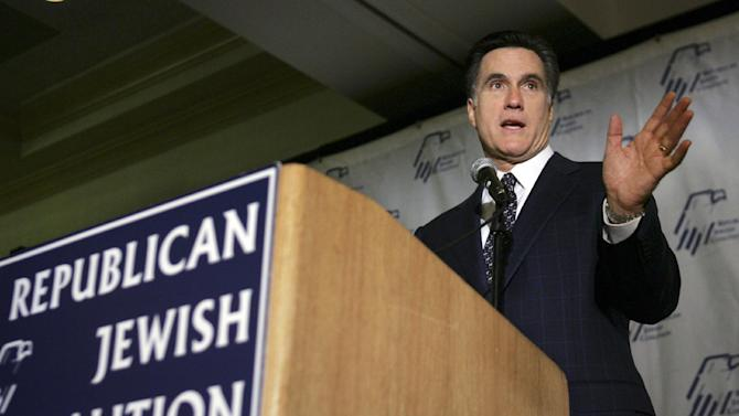 FILE - In this Jan. 22, 2008 file photo, Republican presidential candidate, former Massachusetts Gov. Mitt Romney speaks to the Republican Jewish Coalition of Florida in Boca Raton, Fla. Mitt Romney is trying to win over a tiny sliver of a small _ but powerful _ section of the American electorate on a trip to Israel. President Barack Obama is doing the same at home.  Romney's international trip is unlikely to change the broader campaign with Obama but Romney is looking to close the gap among a Jewish electorate.    (AP Photo/LM Otero)