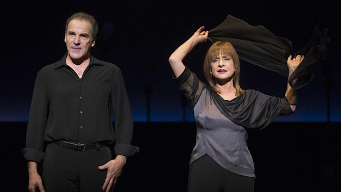 """In this theater image released by Boneau/Bryan-Brown, Mandy Patinkin, left, and Patti LuPone perform in """"An Evening with Patti LuPone and Mandy Patinkin""""  at the Barrymore Theatre in New York. (AP Photo/Boneau/Bryan-Brown, Joan Marcus)"""