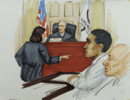In this courtroom sketch, Willam Balfour, second from right, listens as Assistant State&#39;s Attorney Veryl Gambino gives opening statements before Cook County Judge Charles Burns at Balfour&#39;s murder trial, Monday, April 23, 2012, in Chicago. Balfour is charged with three counts of first-degree murder in the October 2008 killings of singer and actress Jennifer Hudson&#39;s mother, brother and nephew. Seated next to Balfour is defense attorney Edward Kozoboski. (AP Photo/Tom Gianni)