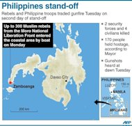 A map showing Zamboanga in the Philippines where Muslim rebels seized dozens more hostages and traded gunfire with troops Tuesday on the seconday of a deadly stand-off. (AFP Photo/)