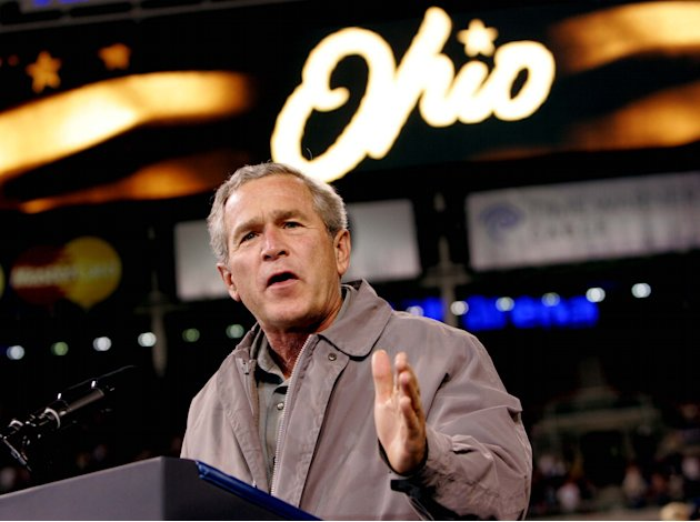 FILE - This Oct. 31, 2004 file photo shows President George W. Bush speaking to supporters at a campaign rally at the Great American Ball Park, in Cincinnati. Ohio is the presidential race's undispute