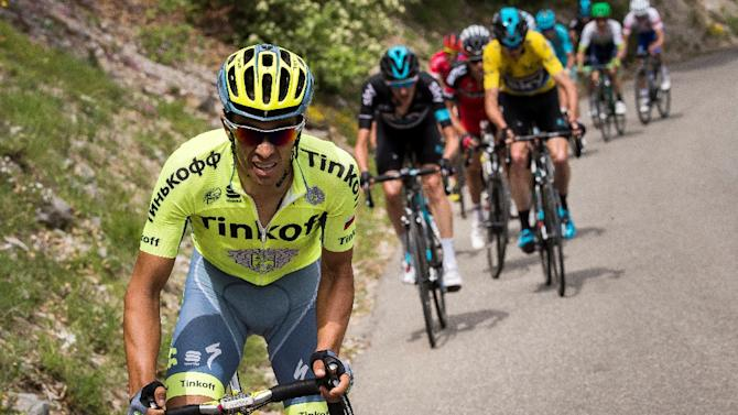 Tinkoff's Spanish rider Alberto Contador (L), pictured on June 12, 2016, heads the Russian team's assault on the Tour de France along with world champion cyclist Peter Sagan