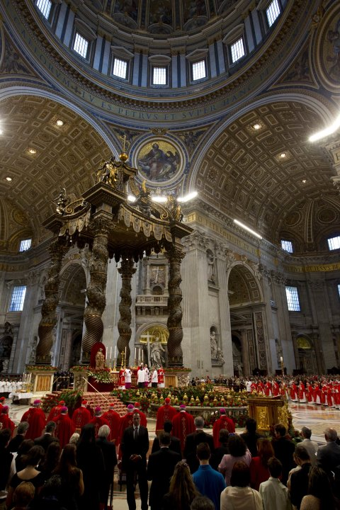 Pope Benedict XVI  celebrates a Pentecost Mass inside St. Peter's Basilica, at the Vatican, Sunday, May 27, 2012. (AP Photo/Andrew Medichini)