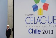 &lt;p&gt;Chilean President Sebastian Pinera arrives for the opening of the Latin American and Caribbean States-European Union Summit in Santiago, on January 26, 2013. European and Latin American leaders pledged to shun protectionism and boost their strategic partnership to foster free trade.&lt;/p&gt;