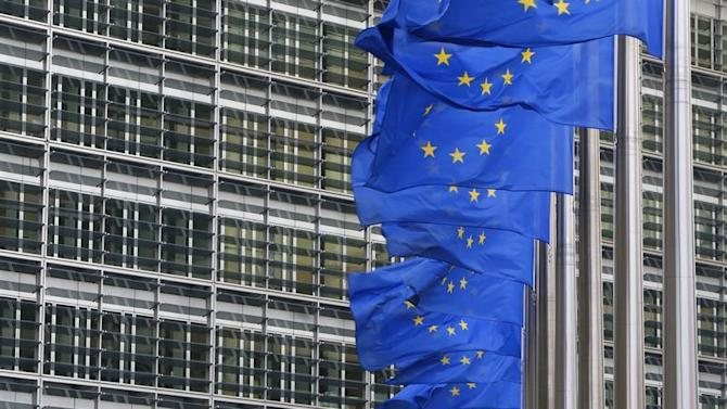 European flags are hung outside the European Commission headquarters in Brussels