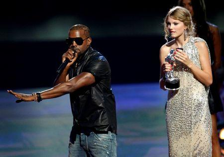 Kanye West interrupts the acceptance speech from best female video winner Taylor Swift at the 2009 MTV Video Music Awards in New York