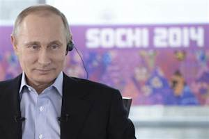 Russian President Putin attends a televised news conference in Sochi