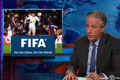 Jon Stewart has some questions about the FIFA investigation — like what took so !#&%@ long