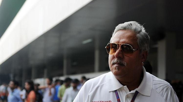 Chairman and CEO of India's Kingfisher Airlines Vijay Mallya, seen at Buddh International motor racing circuit in Greater Noida, outskirts of New Delhi on October 27, 2012