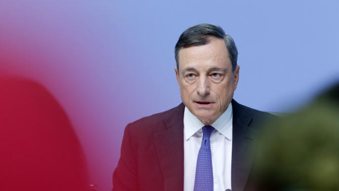 President of European Central Bank Mario Draghi speaks during a news conference in Frankfurt, Germany, Thursday,  Sept.3, 2015, following a meeting of the ECB governing council. (AP Photo/Michael Probst)