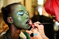 Green, blue and orange face paint was on display at Vivienne Westwood