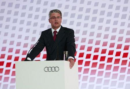 Audi CEO Rupert Stadler delivers a speech during the opening ceremony of the carmaker's new plant in San Jose Chiapa