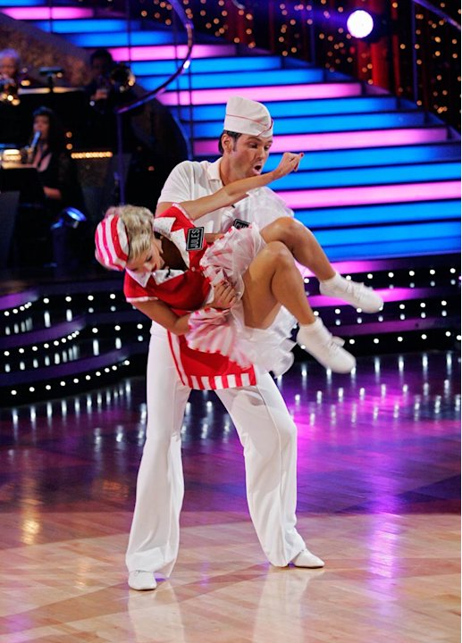 "Chuck Wicks and Julianne Hough perform the Lindy Hop to ""Summertime Blues"" by Brian Setzer on ""Dancing with the Stars."""