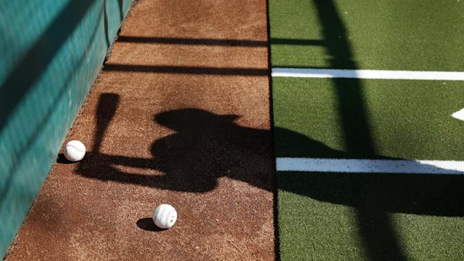 AP10ThingsToSee - A Cleveland Indians player's shadow is cast as he hits a ball at batting practice during a spring training baseball workout in Goodyear, Ariz. on Friday, Feb. 27, 2015. (AP Photo/John Locher)