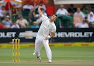 NeW Zealand's Doug Bracewell bowls during a cricket match in Port Elizabeth, South Africa on January 11, 2013. He apologised Tuesday for an off-field incident in which he injured his foot, ruling him out of the opening Test against England