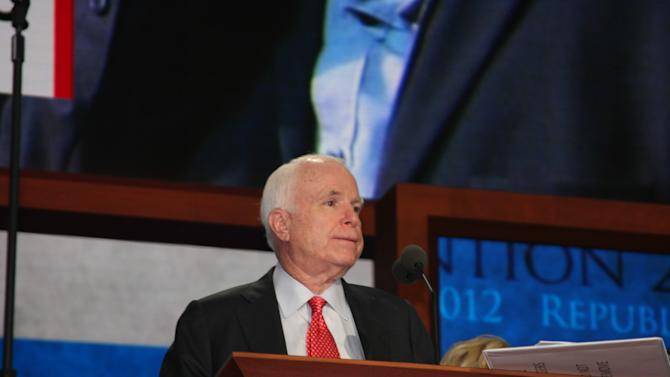Sen. John McCain does a sound check ahead of his speech at the Republican National Convention Wednesday, Aug. 29, 2012 (Torrey AndersonSchoepe/Yahoo! News)