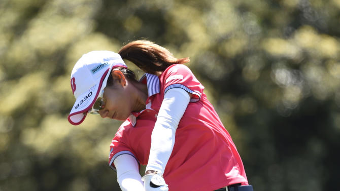 Ai Miyazato, of Japan, hits her tee shot on the second hole during the final round of the LPGA Kia Classic golf tournament Sunday, March 29, 2015, in Carlsbad, Calif.  (AP Photo/Denis Poroy)
