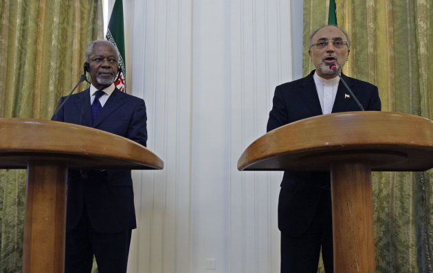 "Iranian Foreign Minister Ali Akbar Salehi, right, speaks with media during a joint press conference with International envoy Kofi Annan, left, after their meeting in Tehran, Iran, Tuesday, July 10, 2012. Annan said Tuesday that Iran must be ""part of the solution"" to the bloody crisis in its close ally Syria, and that the Tehran has offered its support to end the conflict. (AP Photo/Vahid Salemi)"