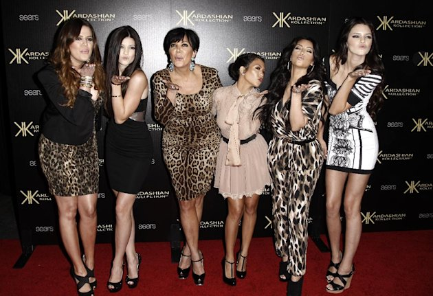 FILE - In this Aug. 17, 2011 file photo, from left, Khloe Kardashian, Kylie Jenner, Kris Jenner, Kourtney Kardashian, Kim Kardashian, and Kendall Jenner arrive at the Kardashian Kollection launch part