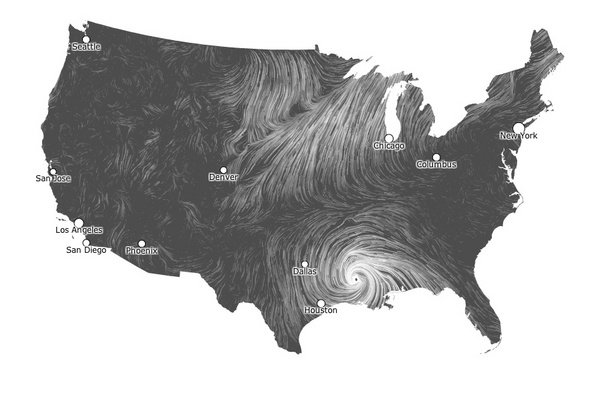 See the Wind: Beautiful Map of Isaac's Gusts
