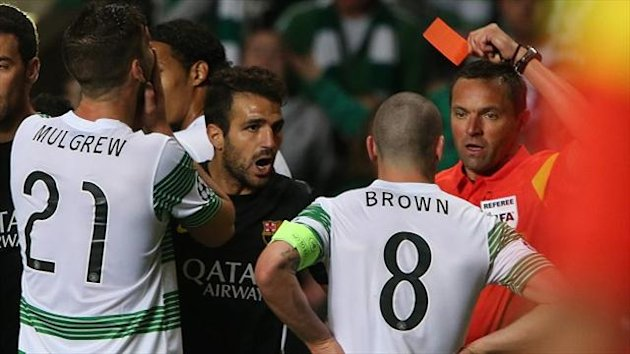 Scott Brown, centre, was sent off against Barcelona