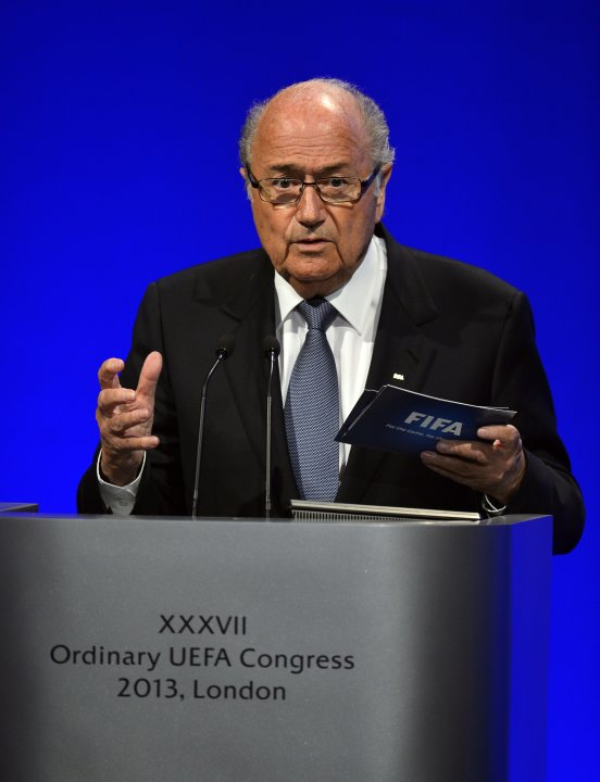 FIFA President Blatter delivers a speech at the XXXVII Ordinary UEFA Congress meeting in London