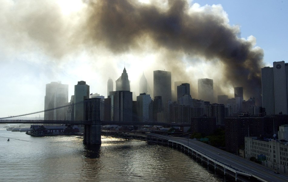 World Trade Center Terrorist Attack - View from Manhattan Bridge