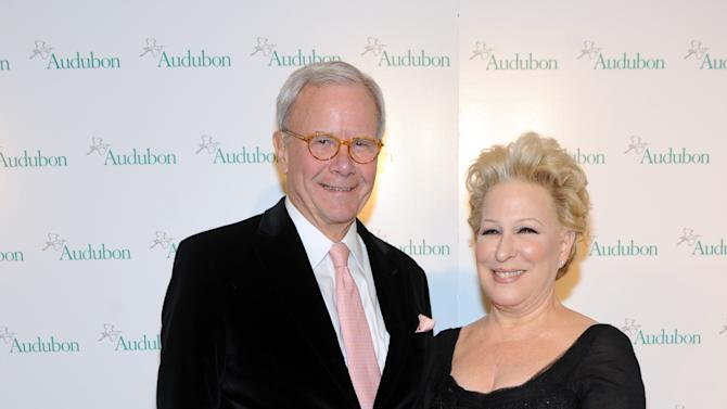 Tom Brokaw and Bette Midler at The National Audubon Society's first gala to jointly award the Audubon Medal and the inaugural Dan W. Lufkin Prize for Environmental Leadership, Thursday, Jan. 17, 2013, in New York.  (Photo by Diane Bondareff/Invision for The National Audubon Society/AP Images)