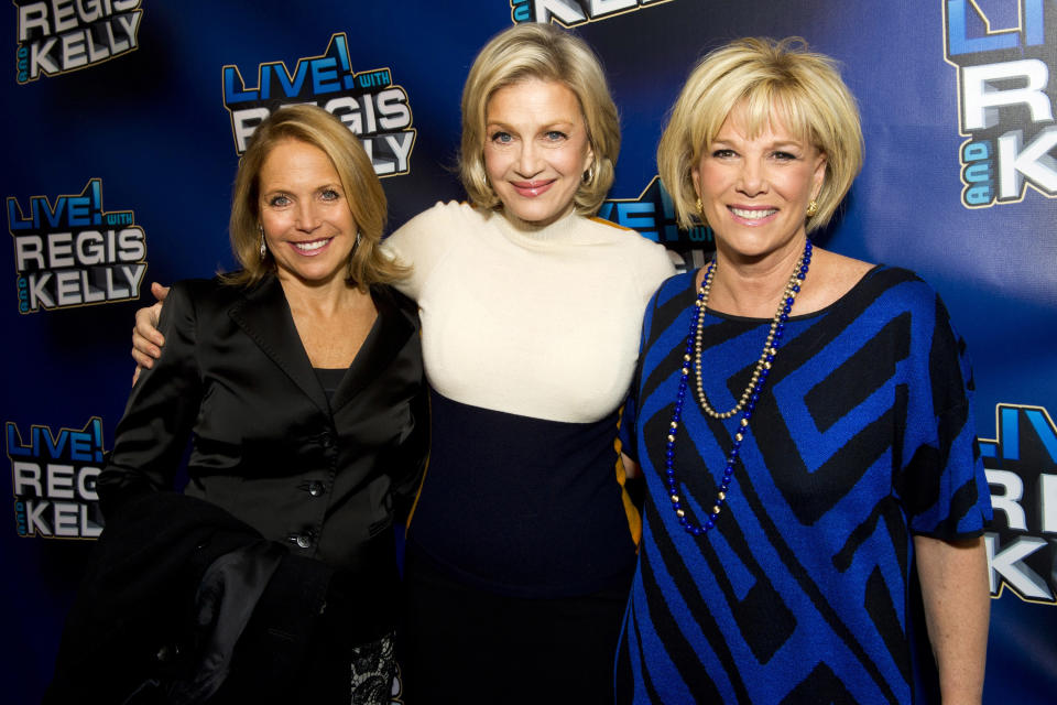 "Katie Couric, left, Diane Sawyer and Joan London arrive for Regis' farewell episode of ""Live! with Regis and Kelly"", in New York, Friday, Nov. 18, 2011. (AP Photo/Charles Sykes)"