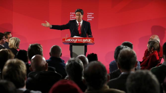 Britain's opposition Labour Party leader Ed Miliband speaks to supporters at Memorial Hall in Barry