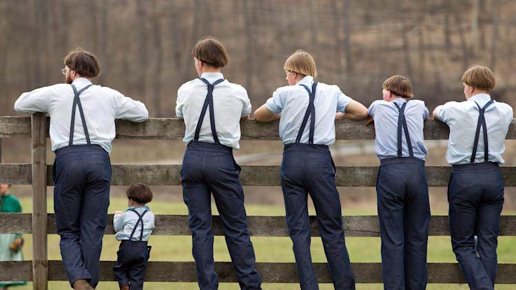 Amish boys watch a game of baseball outside the school house in Bergholz, Ohio on Tuesday, April 9, 2013.  Many Amish families gathered following the final day of school for a celebration and farewell picnic.  (AP Photo/Scott R. Galvin)