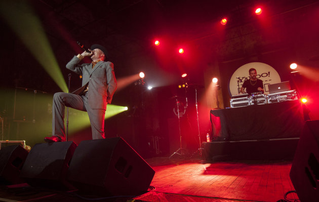 Macklemore and Ryan Lewis perform at the Yahoo! On the Road Concert Series at Turner Hall, Sunday, May, 12, 2013, in Milwaukee. (Photo by Barry Brecheisen/Invision/AP Photo)