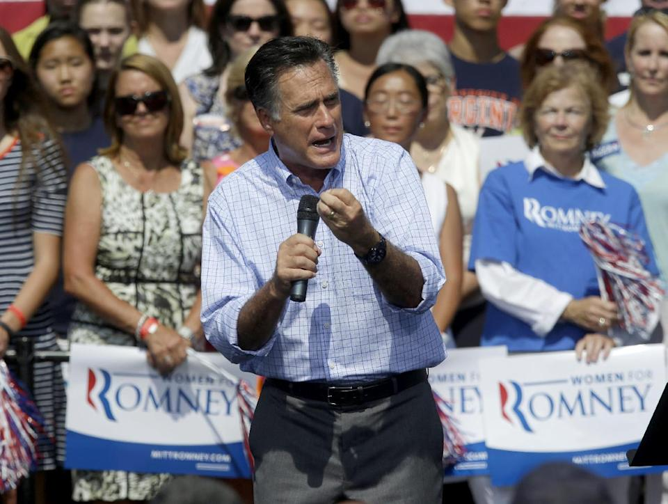 Republican Presidential candidate, former Massachusetts Gov. Mitt Romney speaks during a campaign event at Van Dyck Park, Thursday, Sept. 13, 2012, in Fairfax, Va. (AP Photo/Pablo Martinez Monsivais)