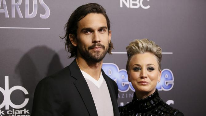 Actress Kaley Cuoco-Sweeting and husband Ryan Sweeting arrive at the People Magazine Awards in Beverly Hills