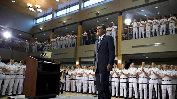 Republican presidential candidate, former Massachusetts Gov. Mitt Romney arrives to make a foreign policy speech at Virginia Military Institute, Monday, Oct. 8, 2012, in Lexington, Va.  (AP Photo/ Evan Vucci)