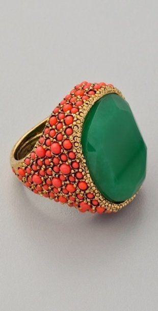 Coral and Jade Cocktail Ring