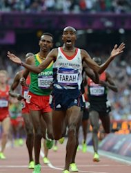 Britain&#39;s Mo Farah wins the men&#39;s 5000m final at the athletics event of the London 2012 Olympic Games on August 11, in London