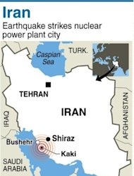 Map locating Bushehr in Iran, where a powerful earthquake struck killing at least 30 people