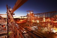 "A BHP Billiton copper/uranium/gold/silver processing plant near the Olympic Dam mine in South Australia. Australia's Resources Minister Martin Ferguson on Thursday declared the mining boom ""over"" following BHP Billiton's decision to delay the massive Olympic Dam project as commodities prices sag"