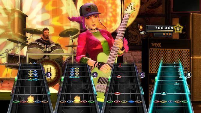 """In this video game image released by  Activision, a scene is shown from the game, """"Band Hero,"""" is shown. A Los Angeles judge ruled Tuesday, May 29, 2012, that the band No Doubt can argue to a jury that gaming giant Activision misused their images in the game """"Band Hero"""" and breached a contract and may have committed fraud by failing to tell that players could use their characters to sing other artists' songs. (AP Photo/Activision)"""