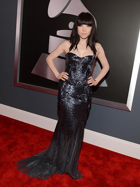 BEST: Carly Rae Jepsen wearing Roberto Cavalli  We had the pleasure of learning about Carly Rae's gorgeous, glittering navy Grammys gown choice the day before the show aired, and we were SO excited to