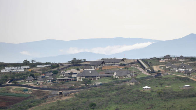 """This photo taken Sept 28 2012 shows the private compound homestead of South African President Jacob Zuma in Nkandla, in the northern KwaZulu Natal province South Africa. Zuma is embroiled in a new scandal over costly additions to his private home at the taxpayers' expense. The revelations of the $23 million renovation of Zuma's rural compound, dubbed """"Zumaville"""" in the local press, come before the ANC's December conference where Zuma seeks to be reappointed as the party's leader, and therefore its candidate for president in the 2014 national election. (AP Photo ) SOUTH AFRICA OUT"""