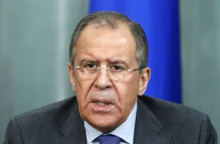 Russia's Foreign Minister Sergei Lavrov speaks during a news conference after a meeting with his Israeli counterpart Avigdor Lieberman in Moscow