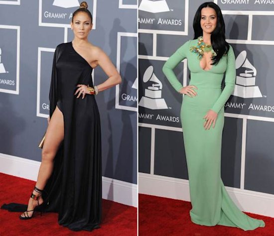 Jennifer Lopez/Katy Perry -- Grammys 2013 -- Getty Images