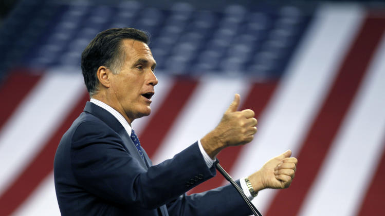Republican presidential candidate, former Massachusetts Gov. Mitt Romney speaks to the Detroit Economic Club at Ford Field in Detroit, Friday, Feb. 24, 2012. (AP Photo/Gerald Herbert)