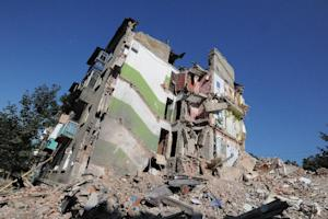 A building destroyed by the Ukrainian Air Force in …