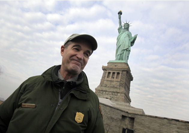 David Luchsinger, superintendent of Statue of Liberty National Monument, and last resident of Liberty Island, poses for a photo during a tour of the venue, in New York,  Friday, Nov. 30, 2012. Tourist