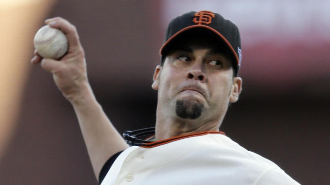 San Francisco Giants starting pitcher Ryan Vogelsong throws during the first inning of Game 6 of baseball's National League championship series against the St. Louis Cardinals Sunday, Oct. 21, 2012, in San Francisco. (AP Photo/Ben Margot)