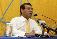 Mohamed Nasheed addresses a press conference after leaving the Indian High Commission in Male today, 10 days after his dramatic flight to the mission to evade arrest for alleged abuse of power