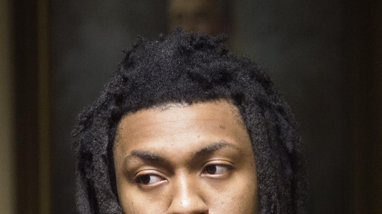Former Auburn football player Mike McNeil, who is charged with armed robbery, appears for a court hearing Thursday, April 4, 2013 in Opelika, Ala. (AP Photo/Opelika-Auburn News, Albert Cesare, Pool)